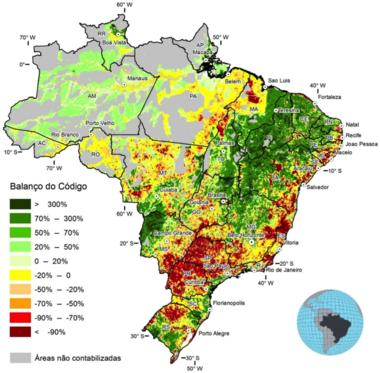 Valores negativos no mapa mostram terras que precisam ser restauradas segundo o novo Código Florestal